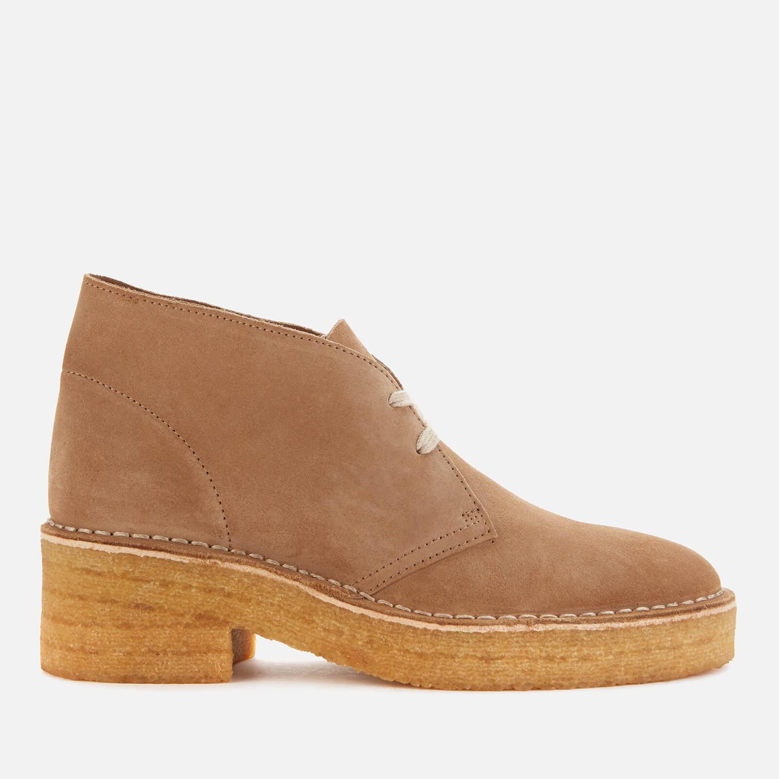 Clarks Originals Women's Arisa Desert Suede Heeled Boots - Dark Sand - Uk 7