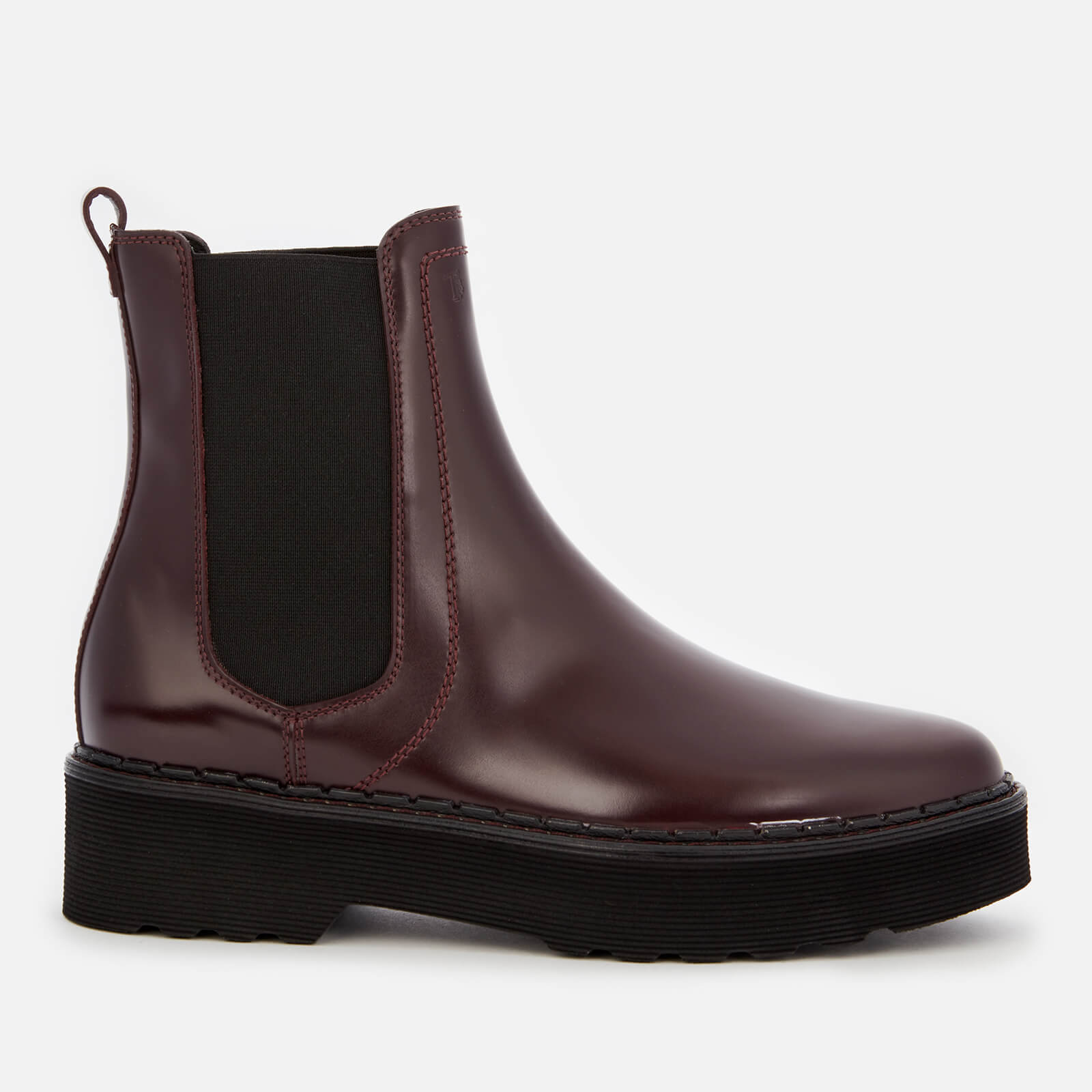 Tod's Women's Leather Chelsea Boots - Burgundy - Uk 4