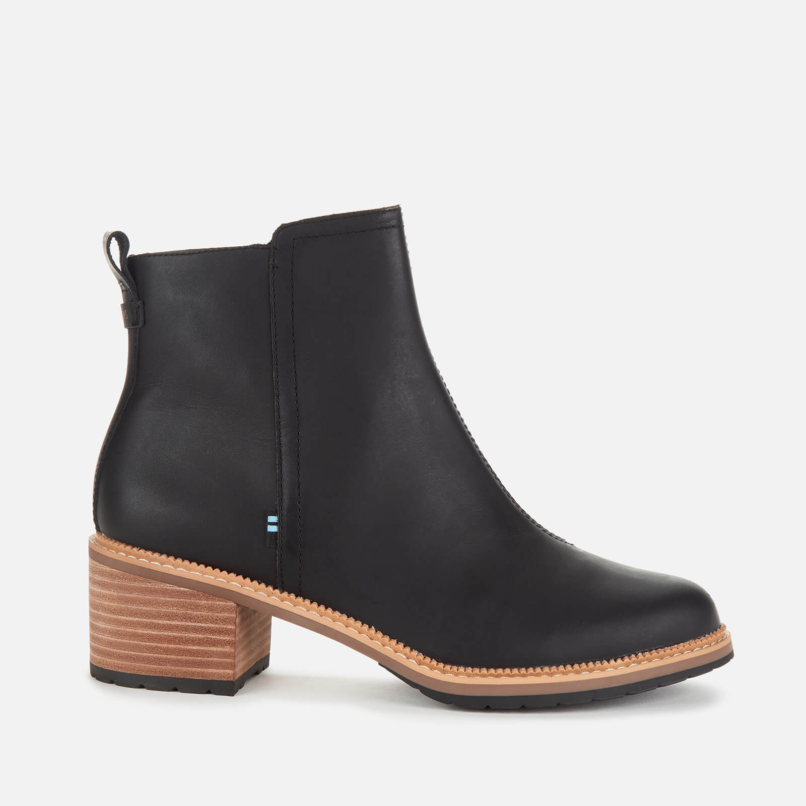 Toms Women's Marina Leather Heeled Ankle Boots - Black - Uk 3