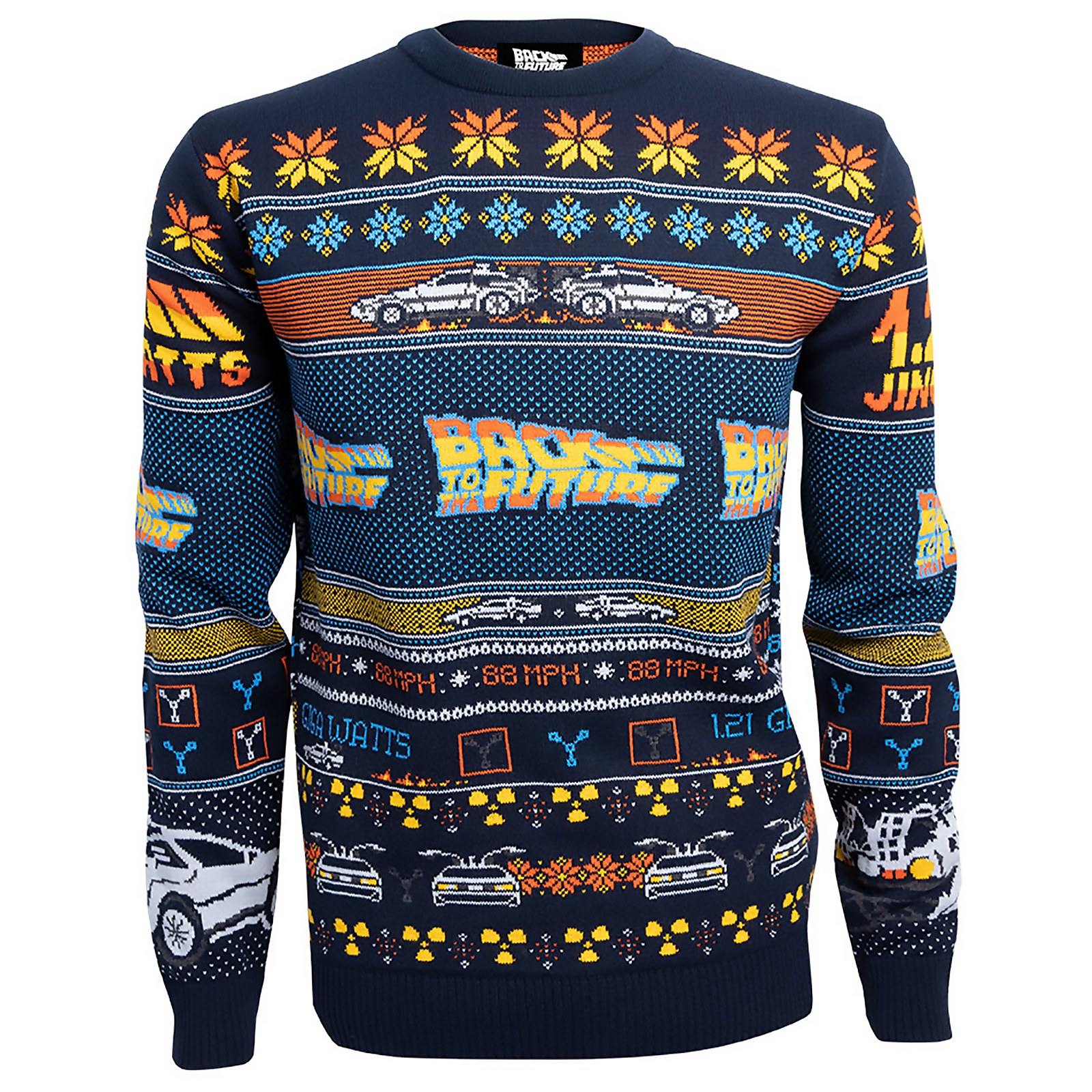 Back To The Future Christmas Knitted Jumper - Navy - M