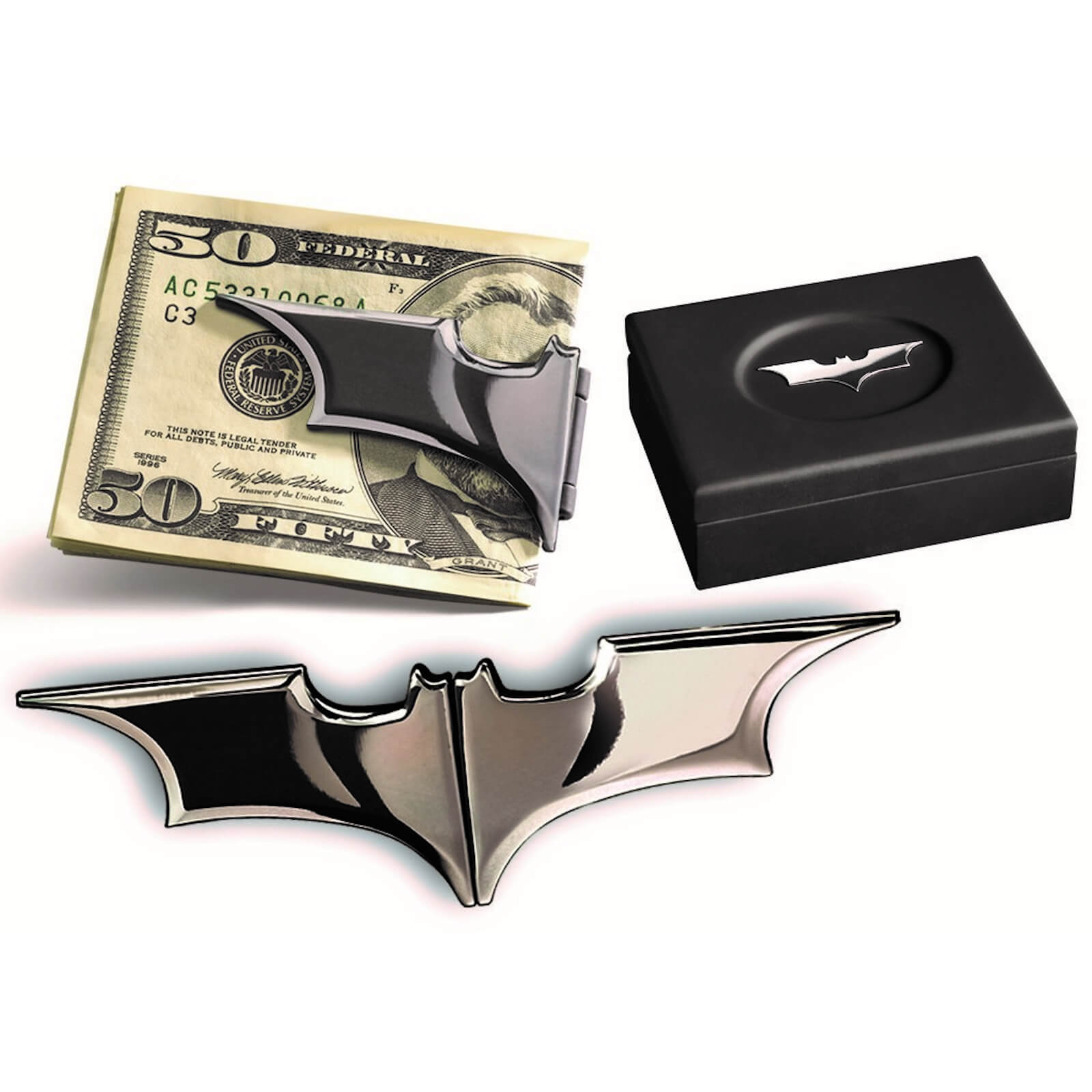 Image of DC Comics Batarang Money Clip (Dark Chrome)