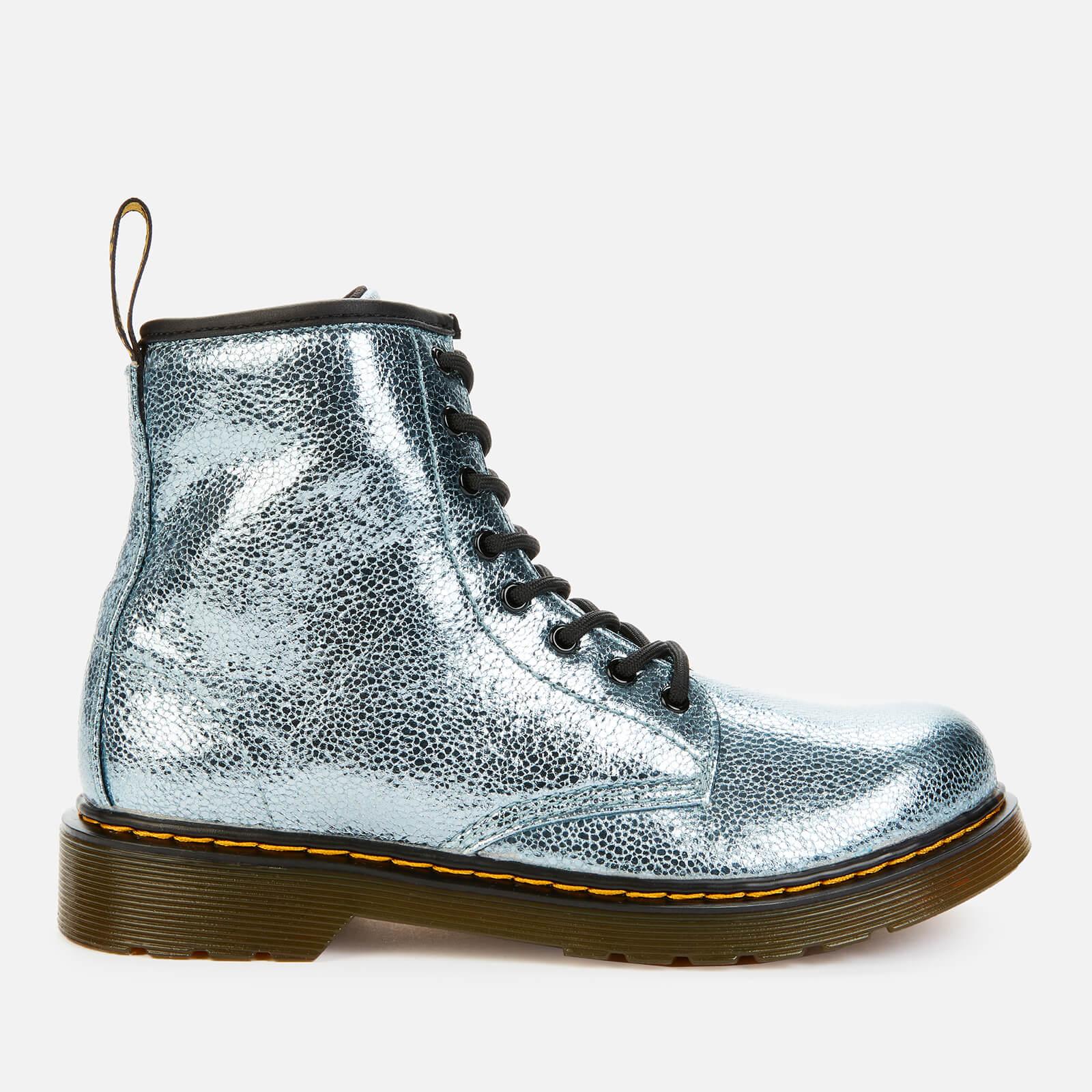Dr. Martens Kids' 1460 Crinkle Metallic Lace-Up Boots - Teal - Uk 12 Kids