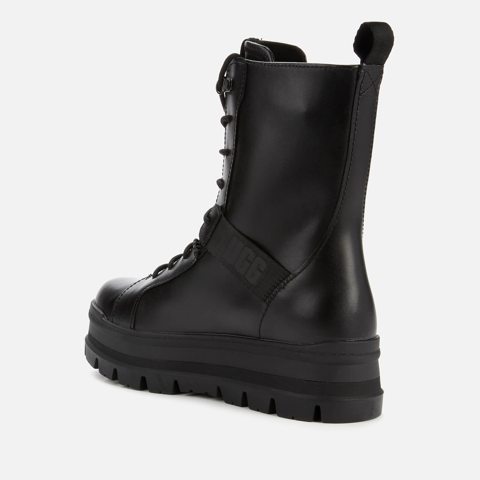 Ugg Women's Sheena Water Resistant Leather Lace Up Boots - Black - Uk 5