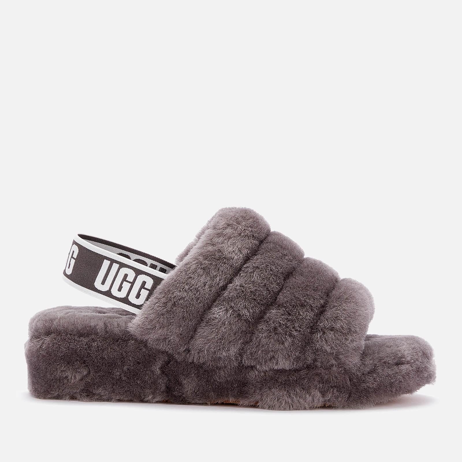 UGG Women's Fluff Yeah Slide Sheepskin Slippers - Charcoal - UK 7