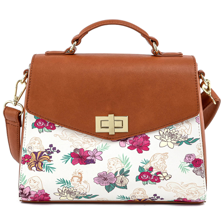 loungefly disney princess floral crossbody bag