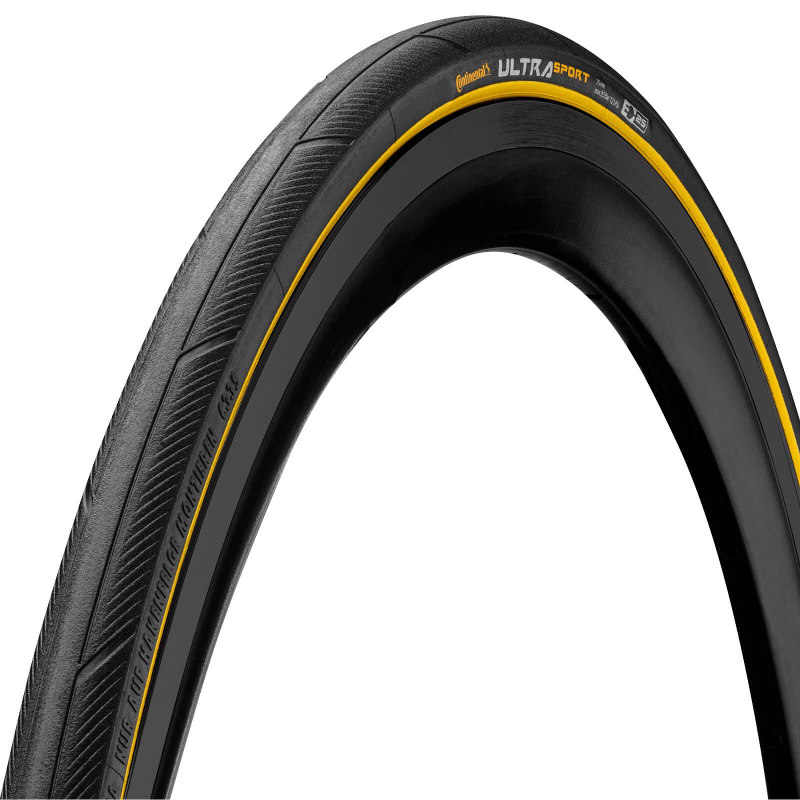 continental ultrasport iii clincher folding road tire - 700 x 25c - black/yellow