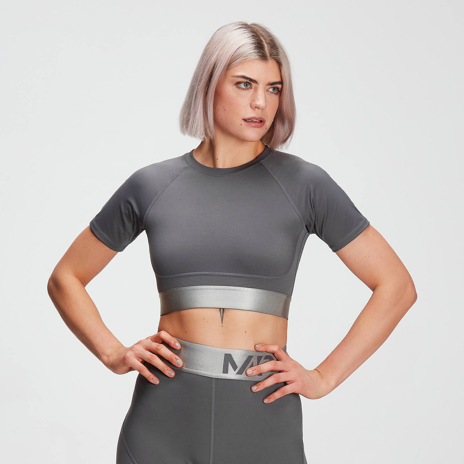 Crop top texturé MP Adapt pour femmes – Carbone - L