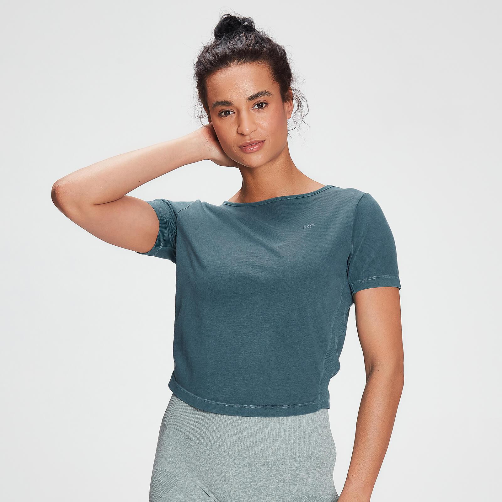 MP Womens Raw Training Washed Tie Back T-shirt - Deep Sea Blue - XS