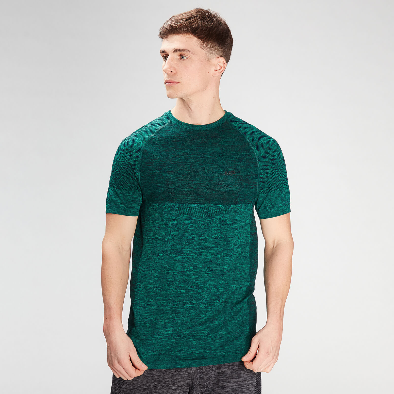 Купить MP Men's Essential Seamless Short Sleeve T-Shirt- Energy Green Marl - XXL, Myprotein International