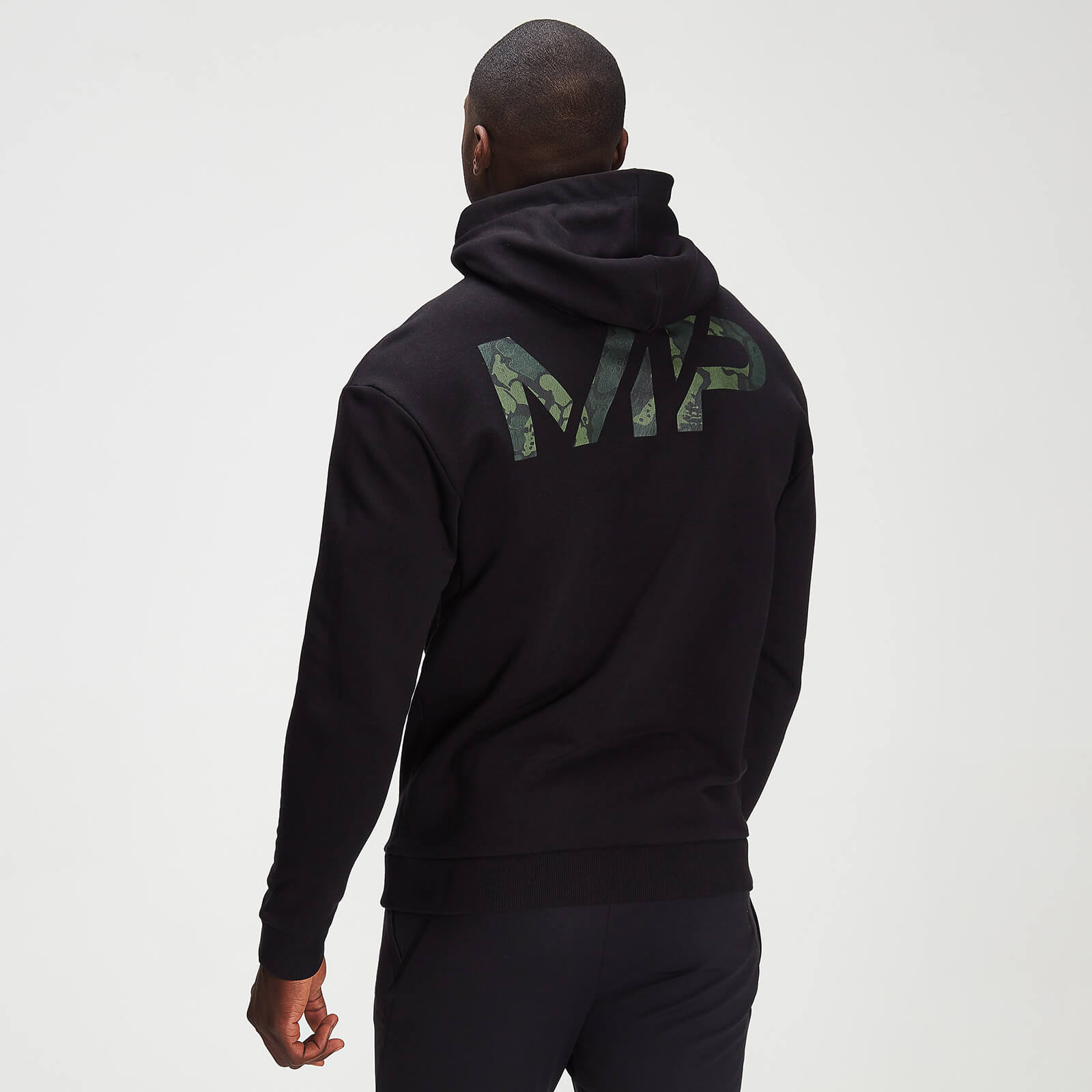 mp men's adapt washed black camo print hoodie- black - xs