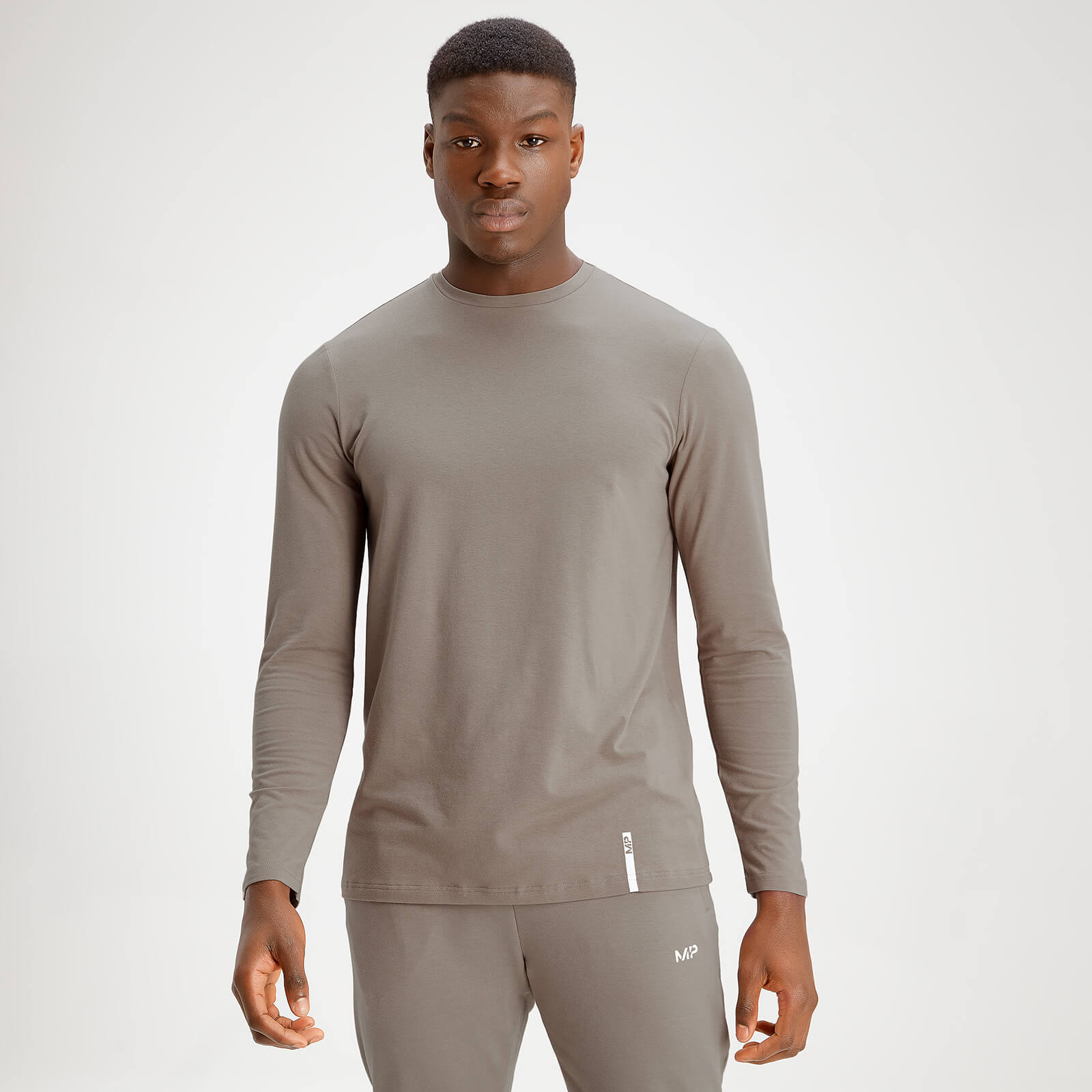 MP Men's Luxe Classic Long Sleeve Crew Top - Taupe - L