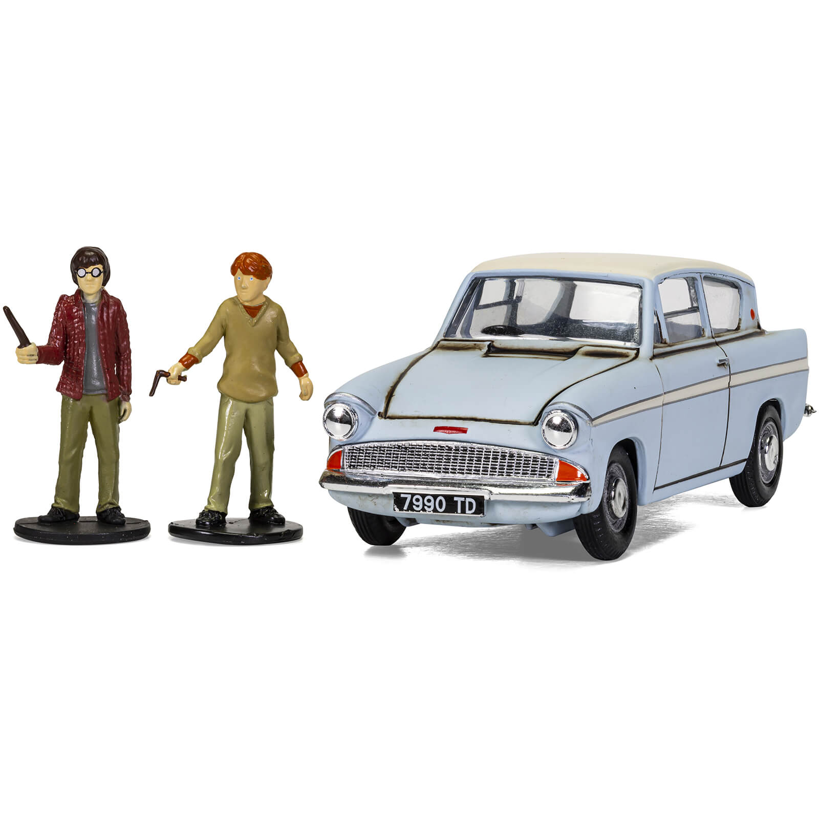 Image of Harry Potter Enchanted Ford Anglia w/Harry and Ron figures Model Set - Scale 1:43
