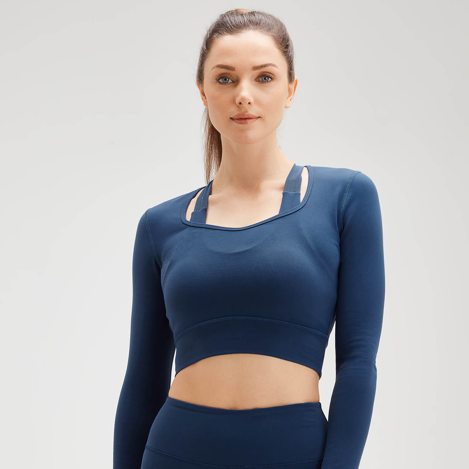 MP Women's Power Open Back Crop Top - Dark Blue - L