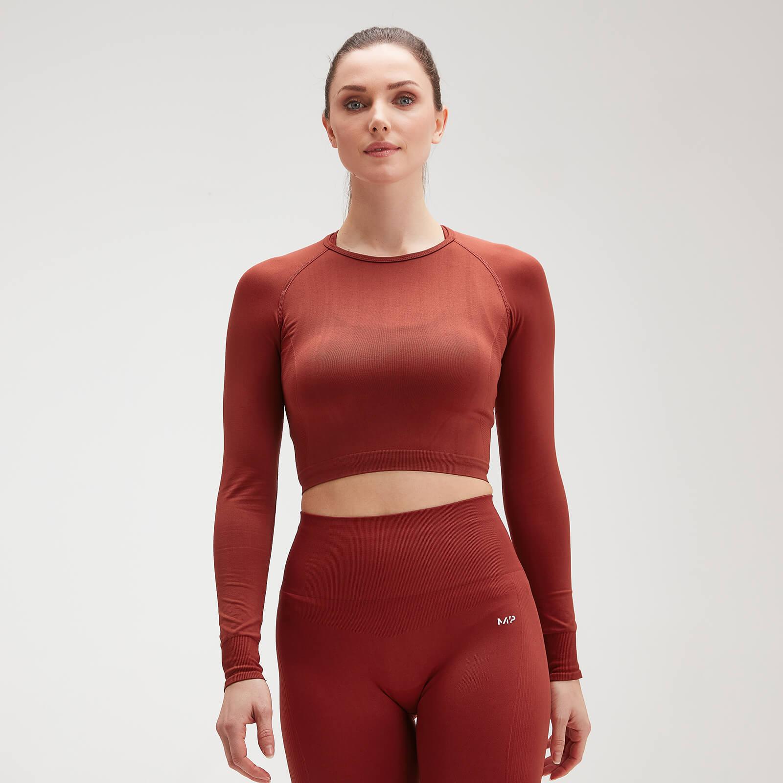 Crop top sans coutures à manches longues MP Shape Seamless Ultra pour femmes – Rouille - XXS