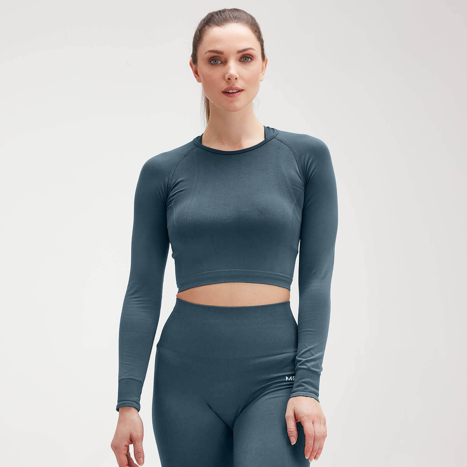 MP Women's Shape Seamless Ultra Long-Sleeve Crop Top - Tiefseeblau - M