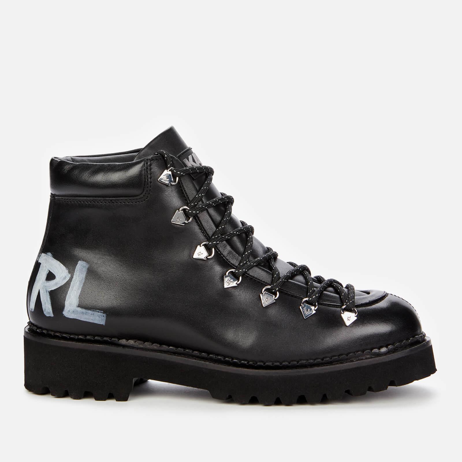 Karl Lagerfeld Women's Kadet Ii Leather Hiking Style Boots - Black - Uk 3