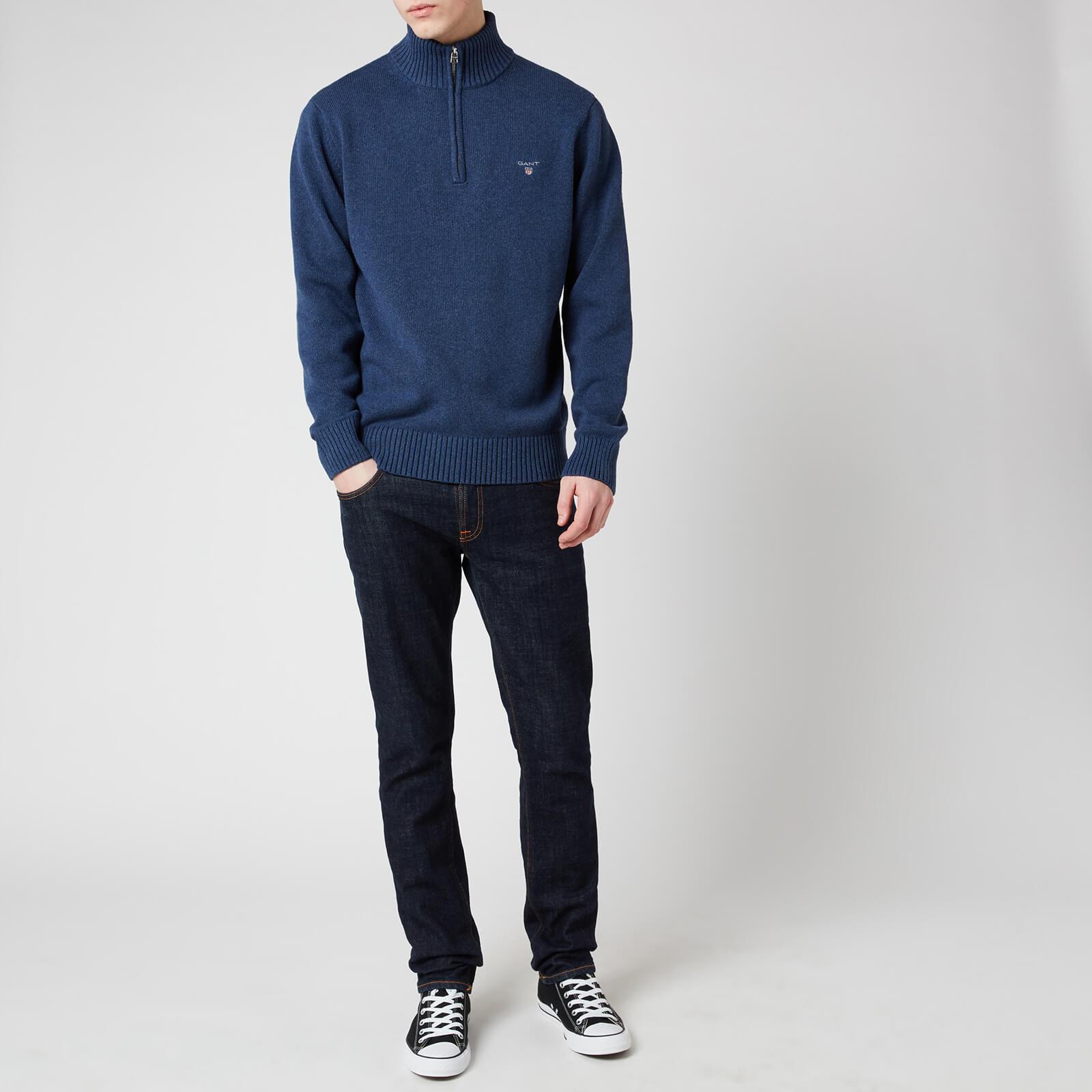 Gant Men's Casual Cotton Half Zip Sweatshirt - Marine Melange - S