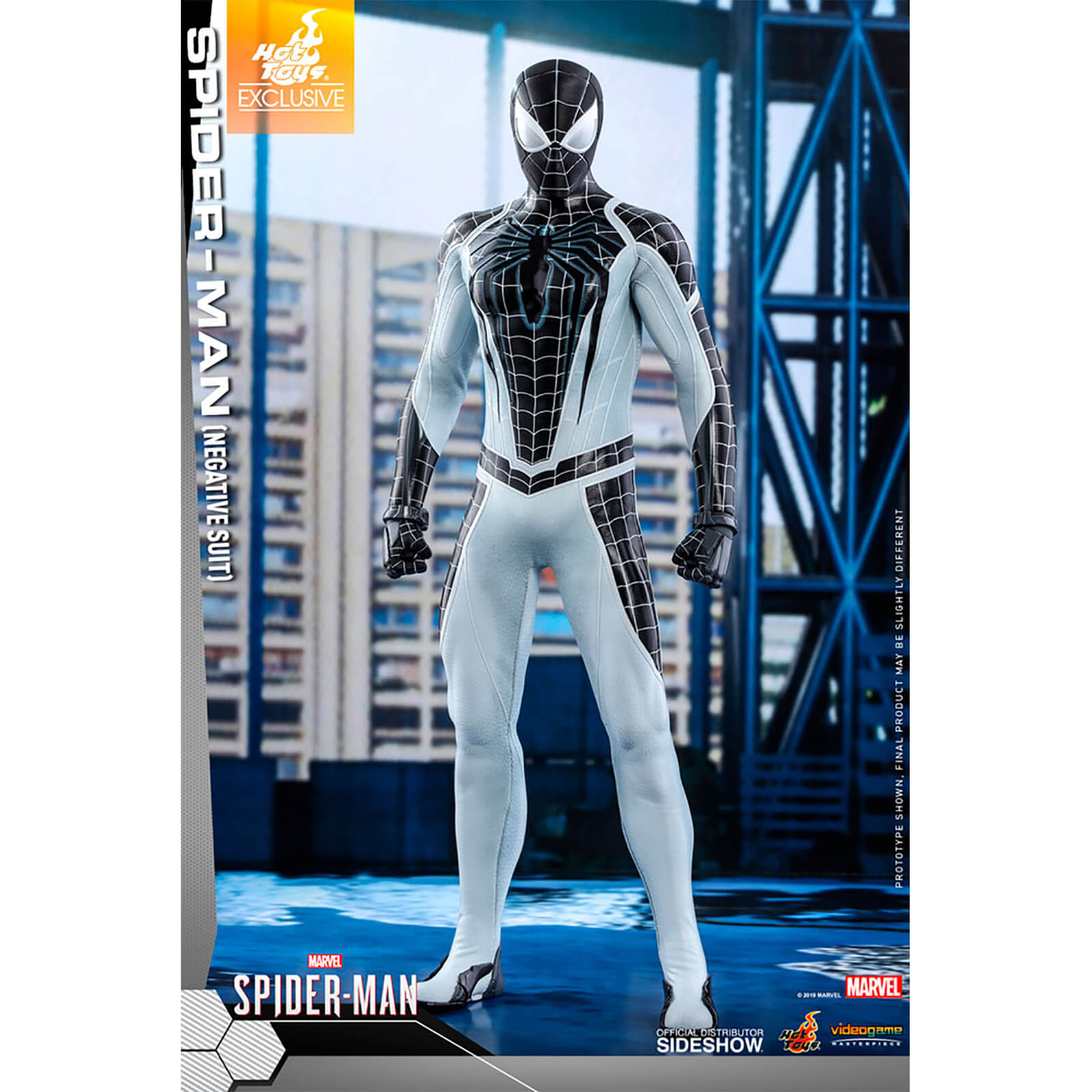 Hot Toys Video Game Masterpiece   1/6 Scale Fully Poseable Figure: Marvels Spider Man   Spider Man (Negative Suit Version)