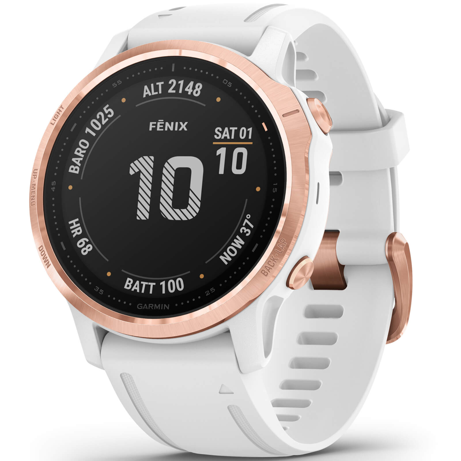 Garmin Fenix 6S Pro GPS Watch - Rose Gold/White