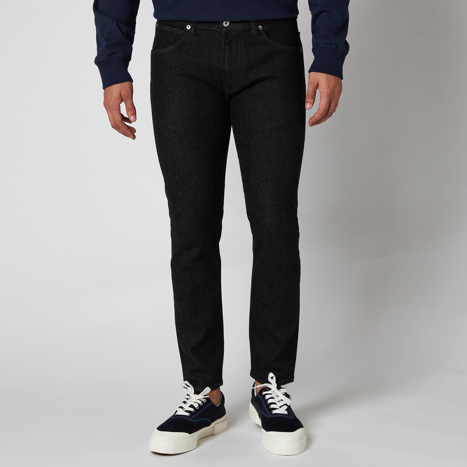 Edwin Men's Ed-85 Slim Tapered Cs Ayano Drop Crotch Rinsed Jeans - Black - W32/L32