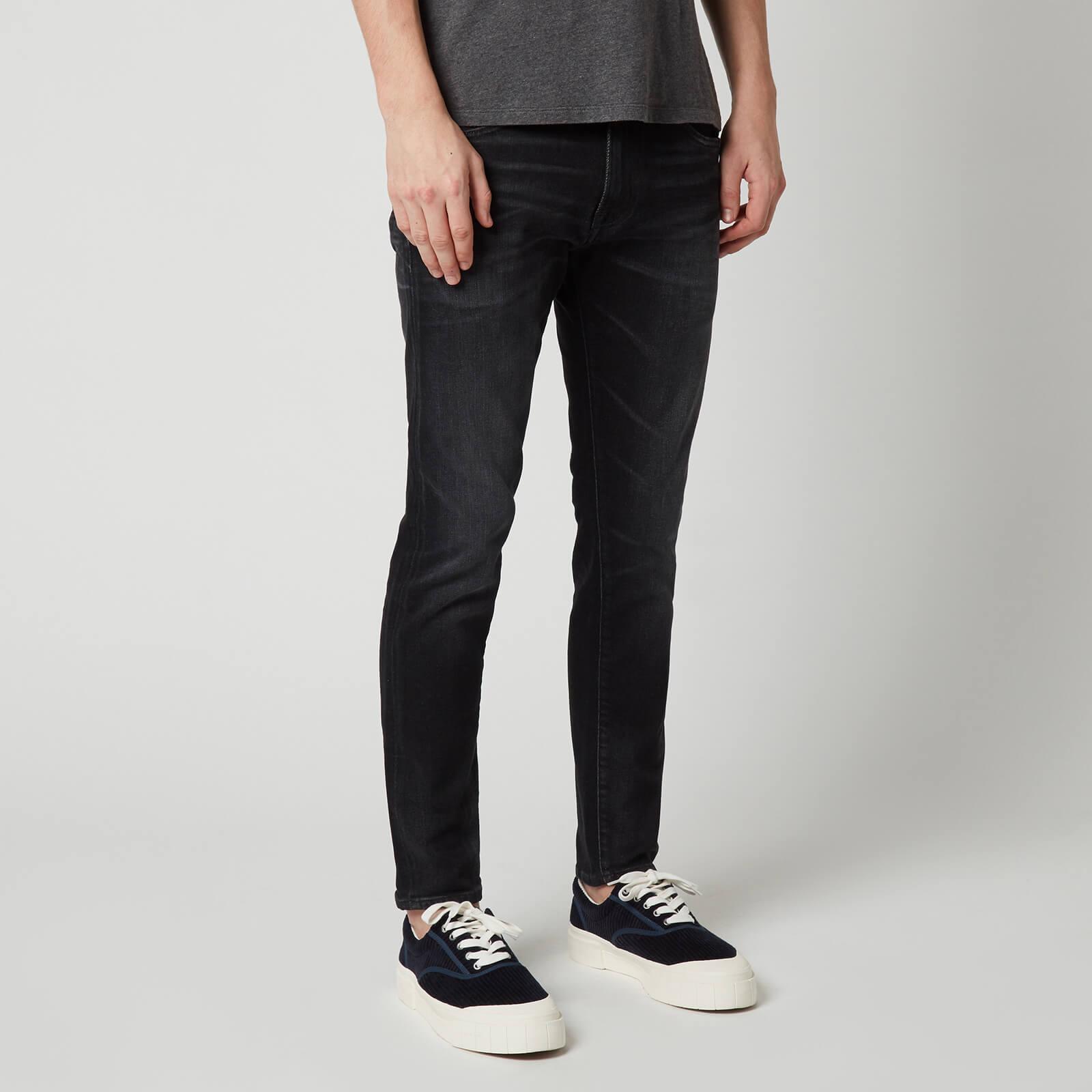 Edwin Ed 85 slim tapered fit mens jeans DROP CROTCH Cs Grey Rinsed stretch