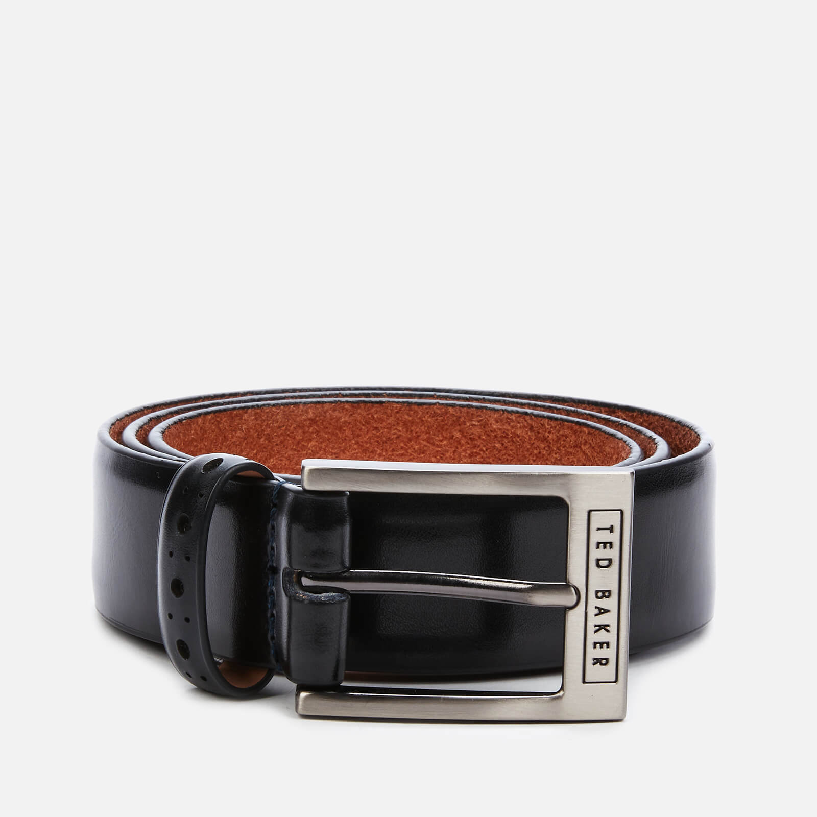 ted baker men's waffler branded leather belt - black - w32