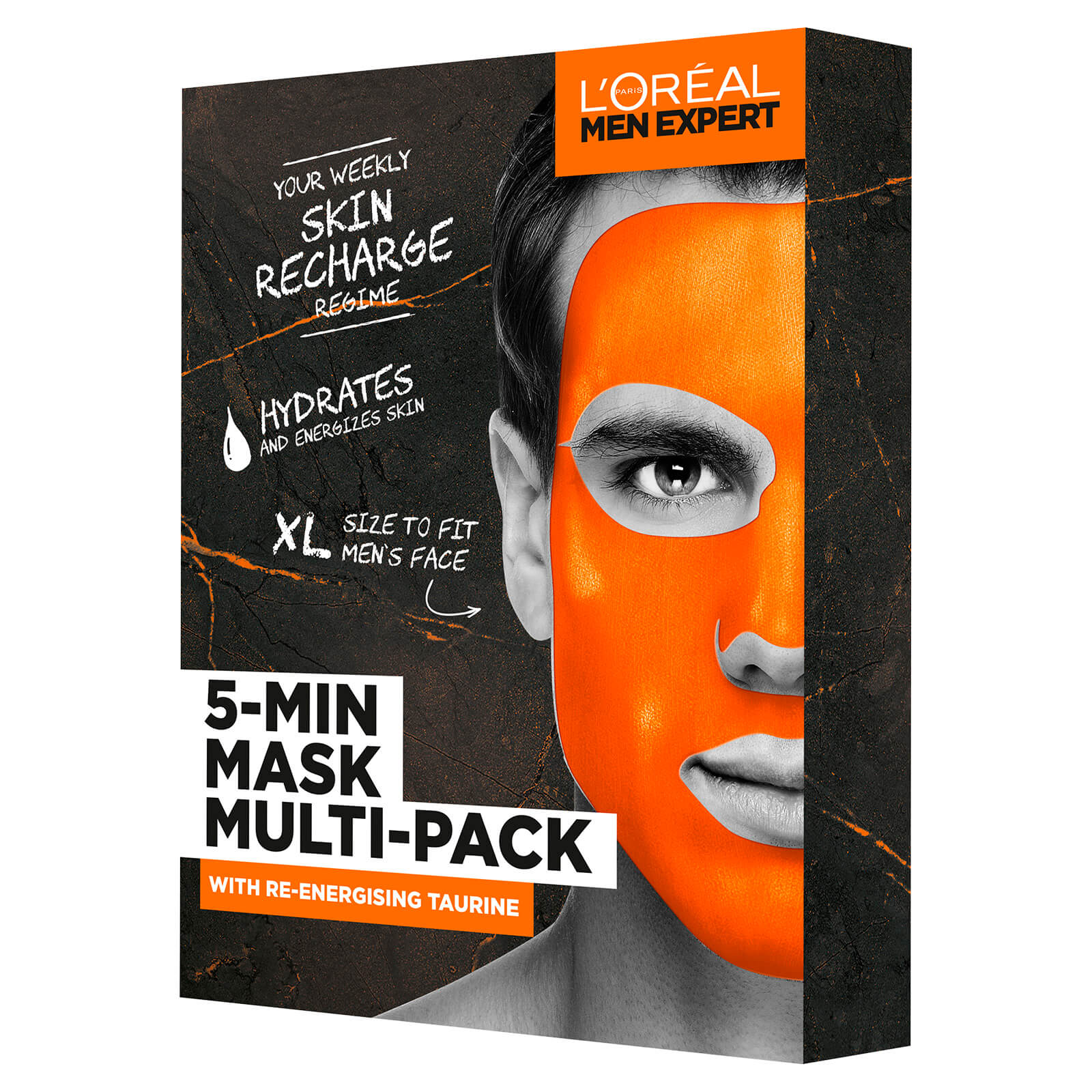 L'Oreal Paris Men Expert 5 Minute Mask Multi-Pack with Re-Energising Taurine Set for Him (Worth £15.00)