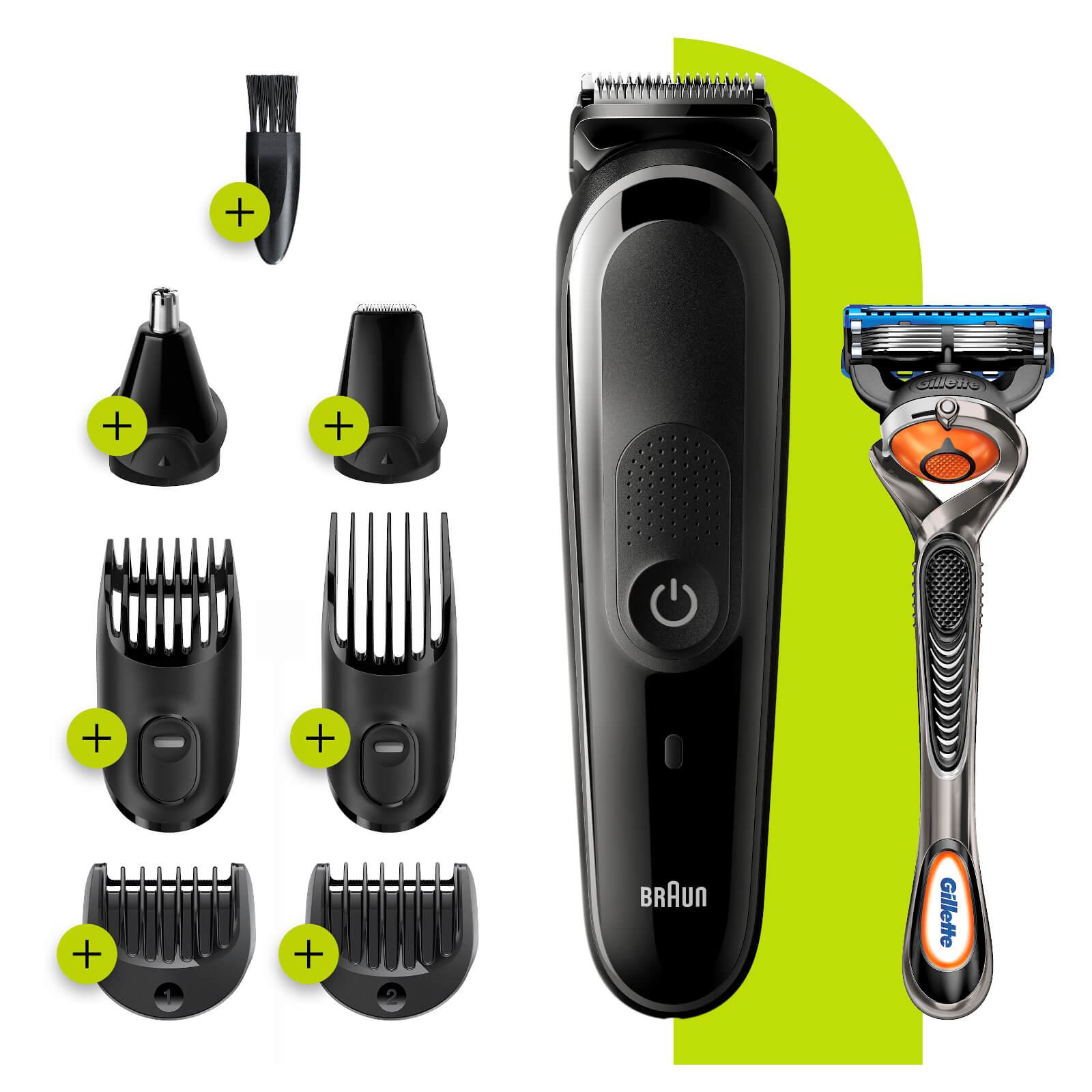 All-in-one Trimmer with 6 attachments and Gillette Razor