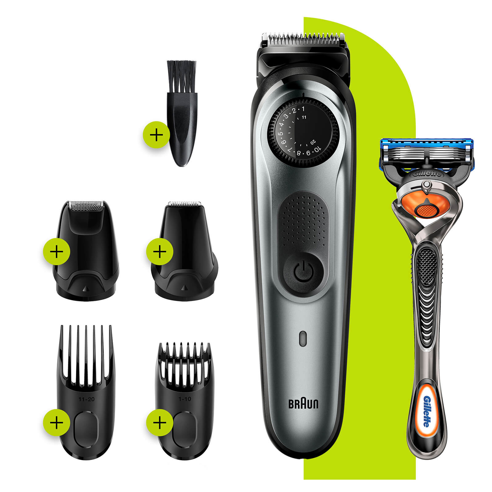 Beard Trimmer with 4 attachments and Gillette Razor - Charging Plug only