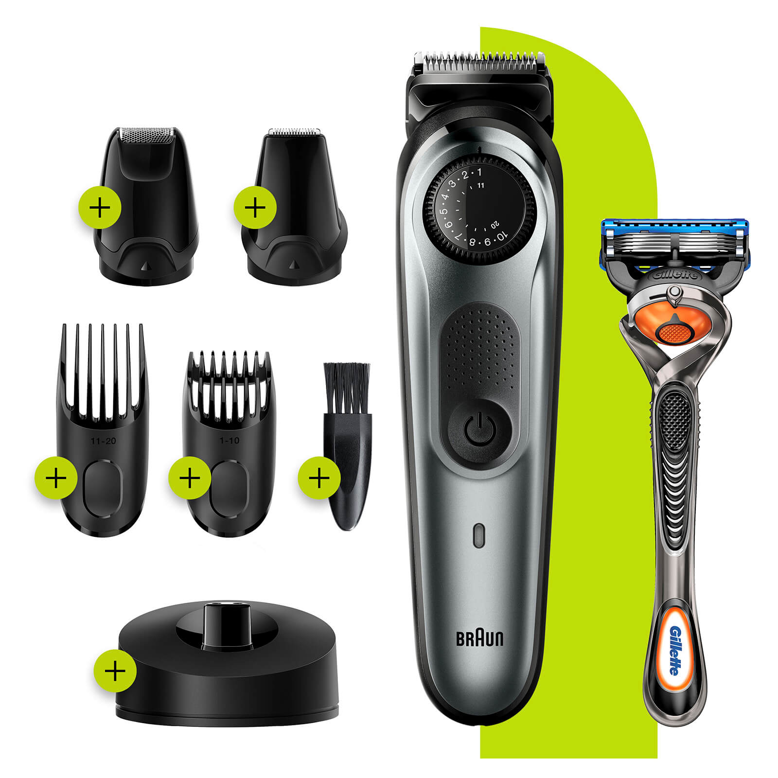 Beard Trimmer with 4 attachments and Gillette Razor - Charging Stand