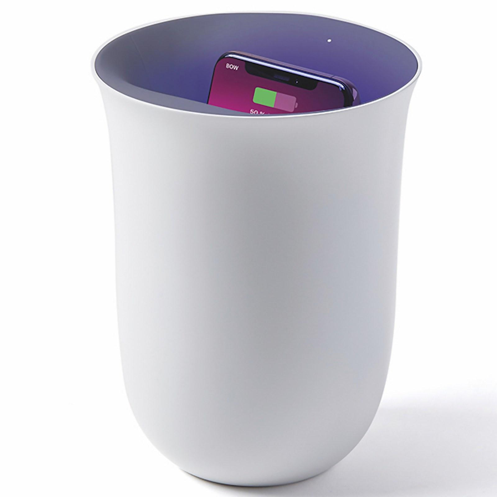 Lexon Oblio Wireless Charging Station and UV Sanitiser - White