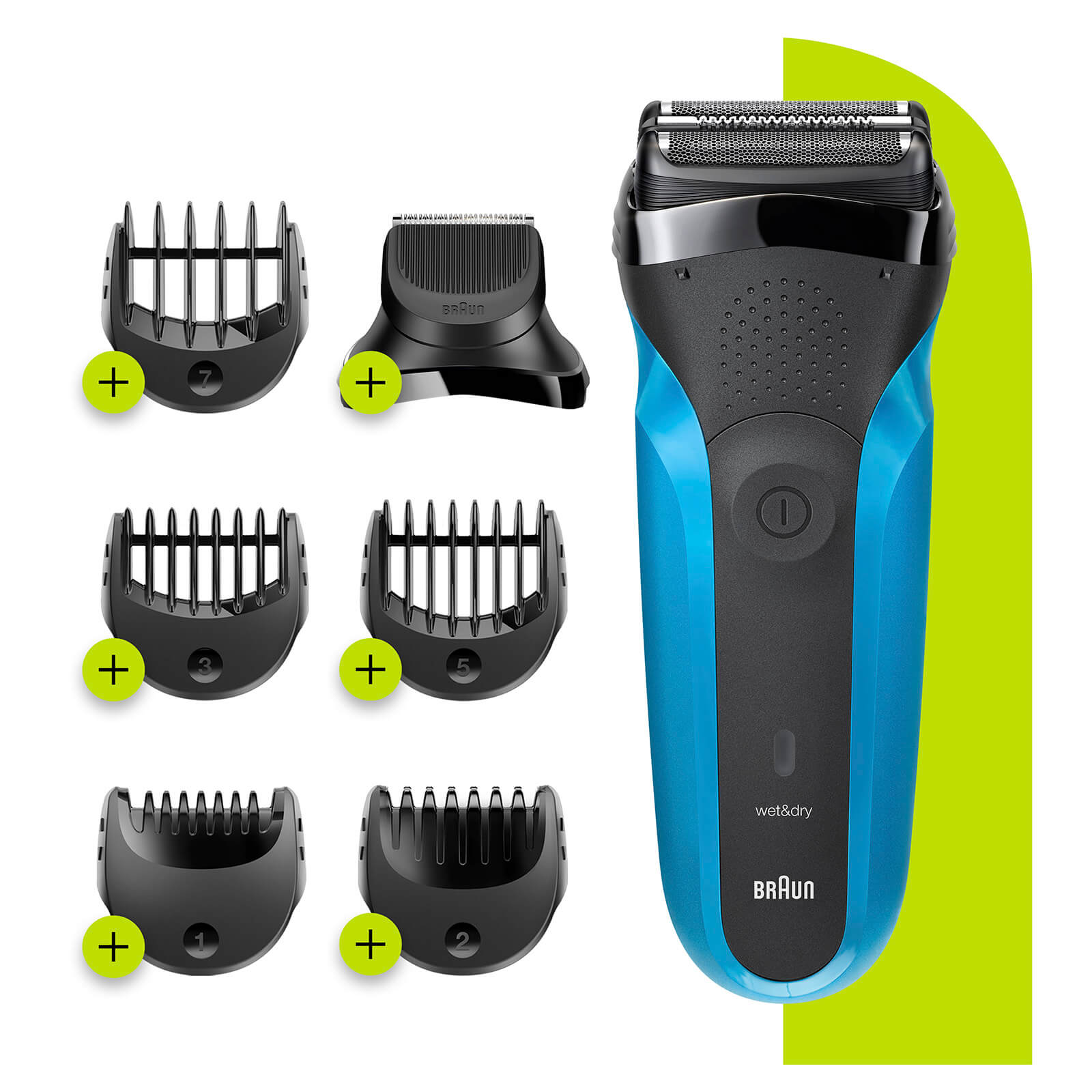 Series 3 Shaver with Trimmer Head and 5 Combs - Wet & Dry