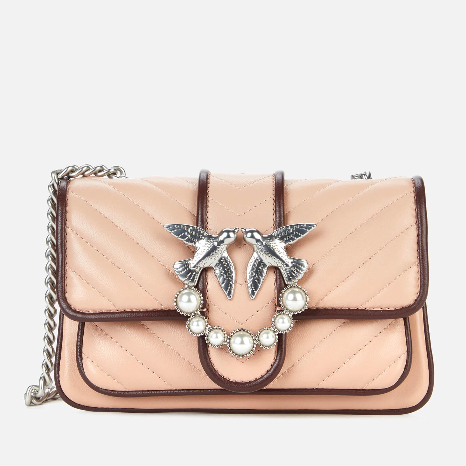 pinko women's love baby soft v quilt bag - pink/bordeaux