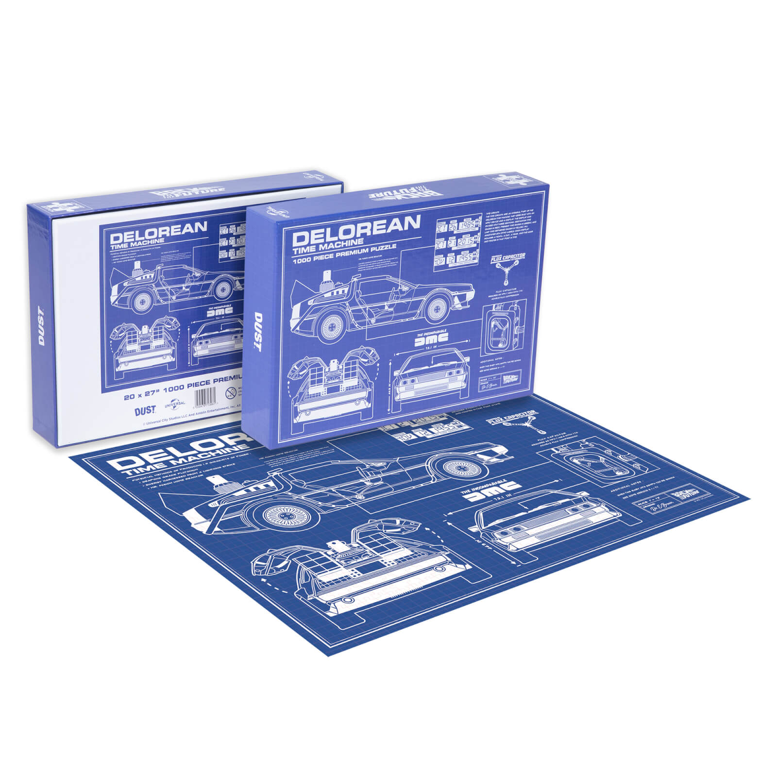 Image of Dust! Back To The Future DeLorean Schematic 1000pc Puzzle - Zavvi Exclusive