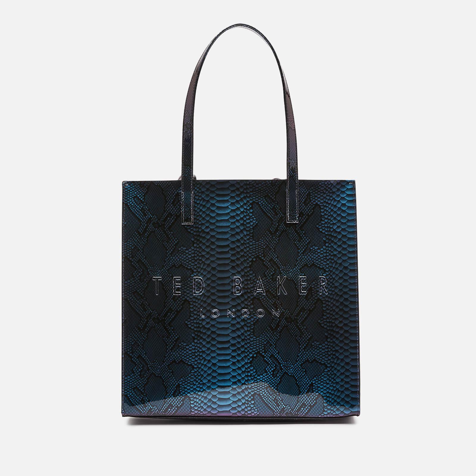 ted baker women's jemacon holographic imitation snake large icon bag - bright blue
