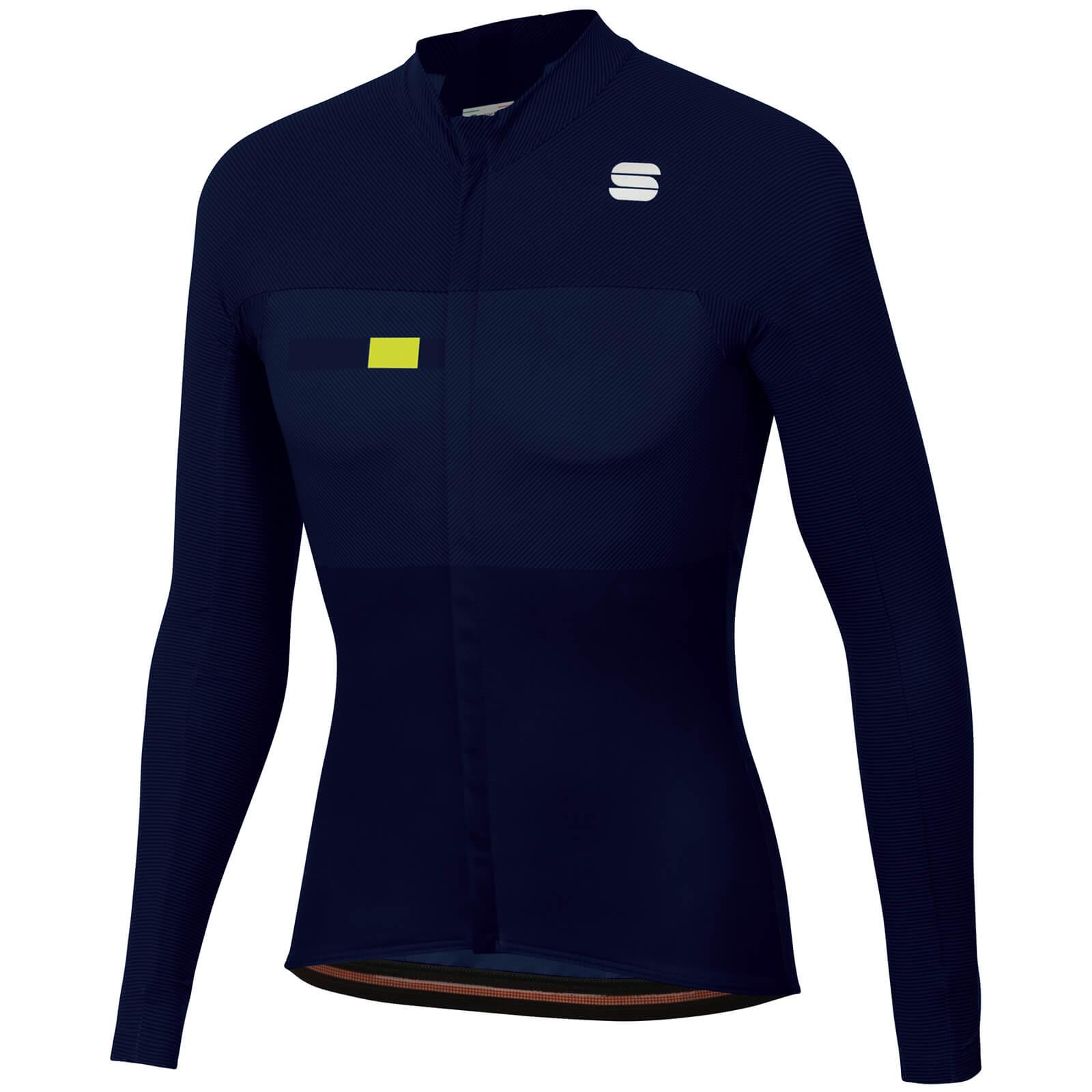 sportful bodyfit pro thermal jersey - l - blue/yellow fluo