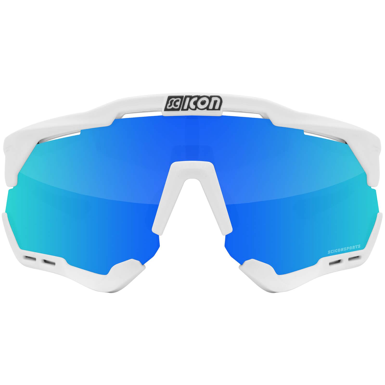 Scicon Aeroshade XL Road Sunglasses - White Gloss - Multimirror Blue