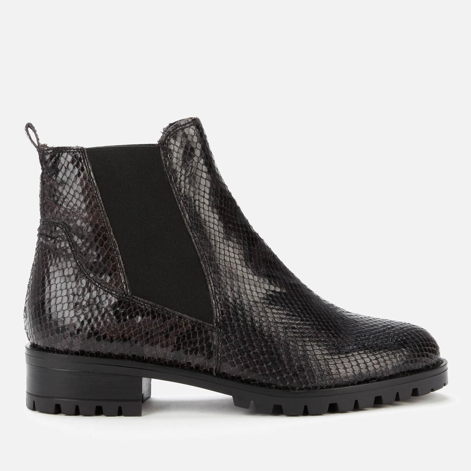 Dune Women's Powerful Reptile Print Leather Boots - Black - EU 39/UK 6