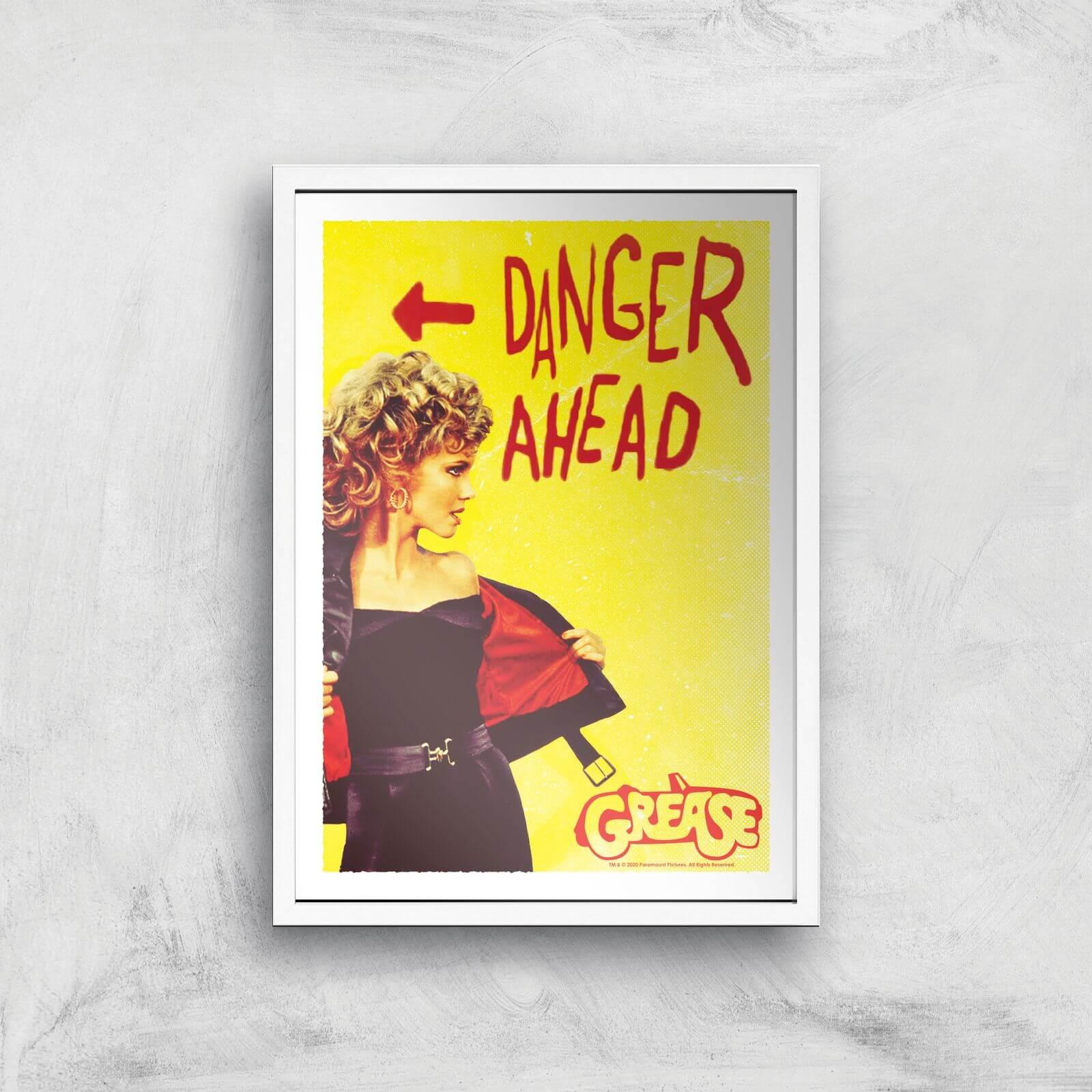 Grease Danger Road Giclee Art Print - A4 - White Frame