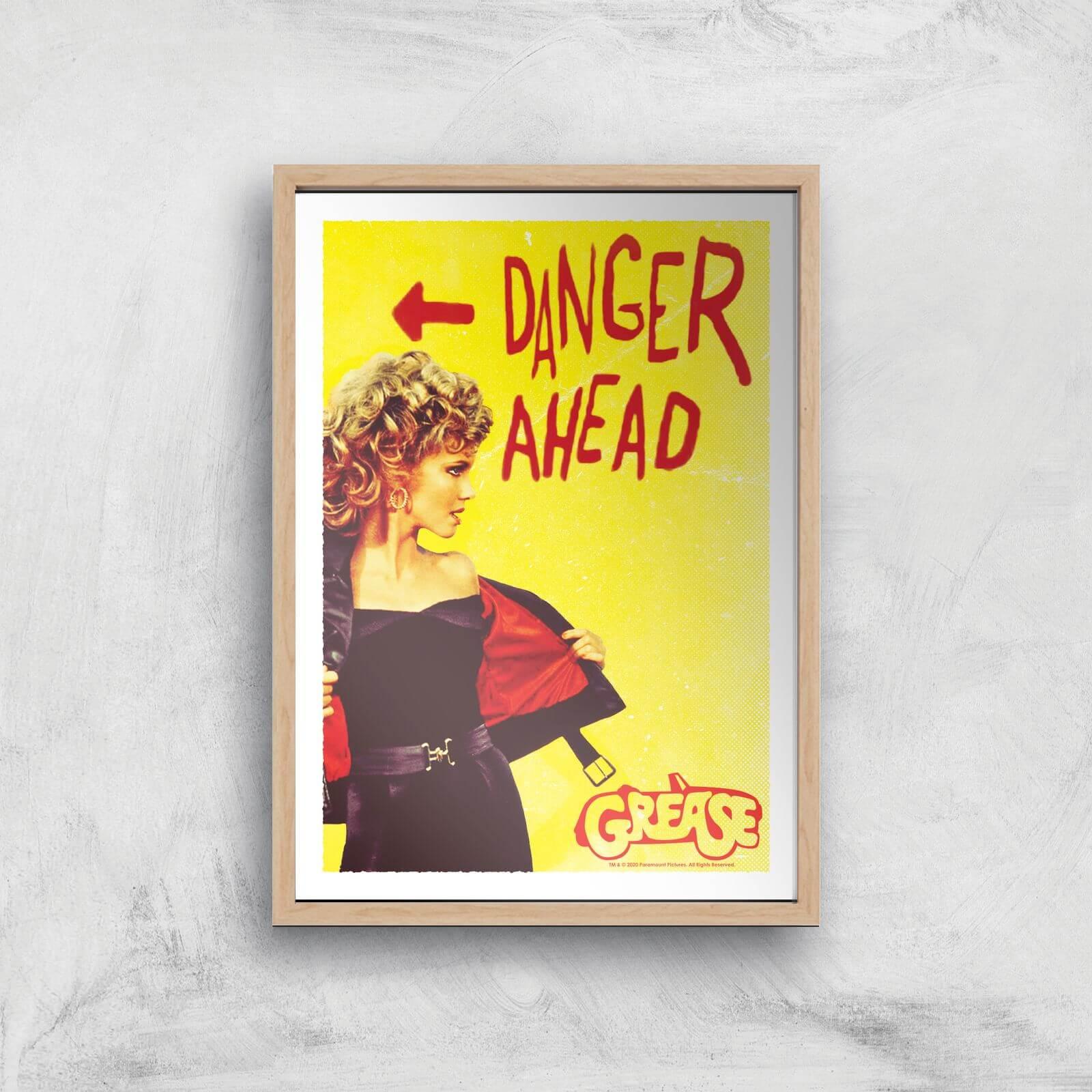 Grease Danger Road Giclee Art Print - A3 - Wooden Frame