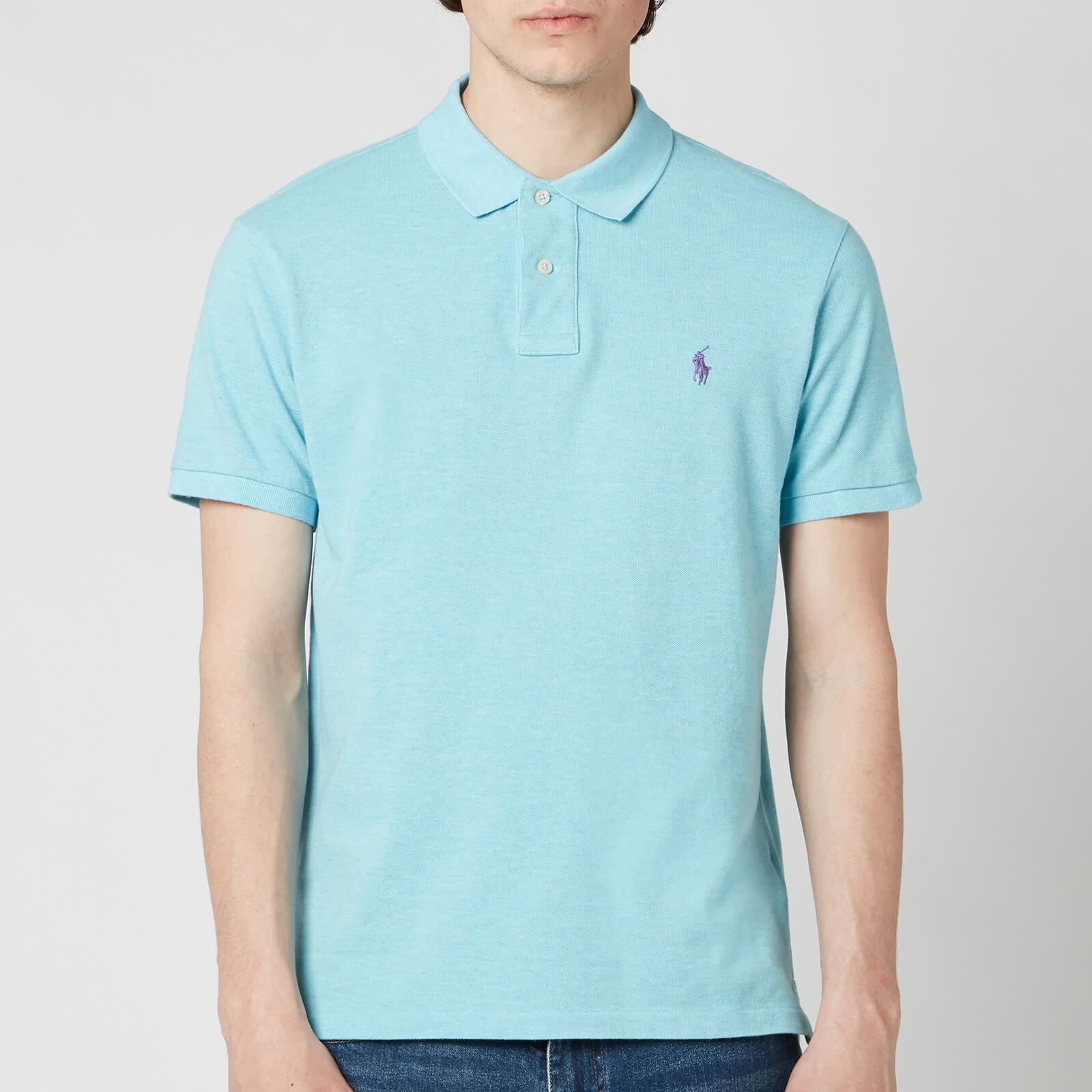 Polo Ralph Lauren Men's Mesh Knit Slim Fit Polo Shirt - Watchhill Blue Heather - S