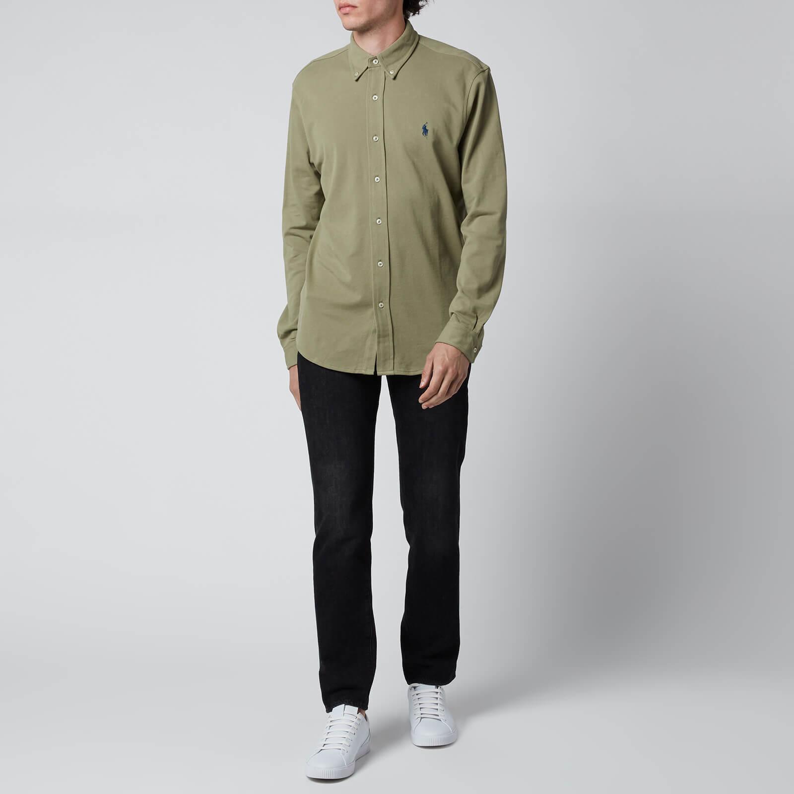 polo ralph lauren men's featherweight mesh shirt - sage green - xl