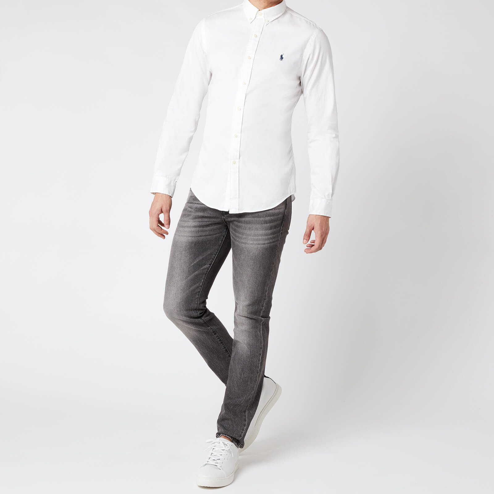 polo ralph lauren men's slim fit chino shirt - white - xl