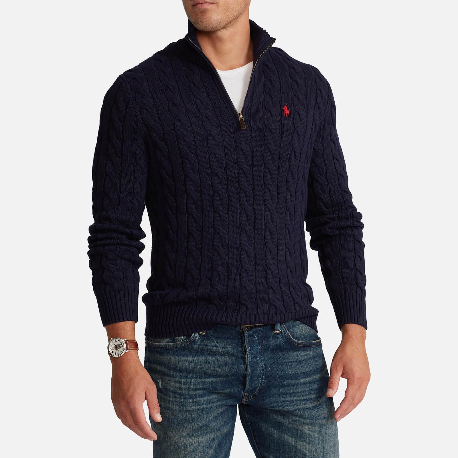 Polo Ralph Lauren Men's Cable Knit Cotton Half Zip Jumper - Hunter Navy - S