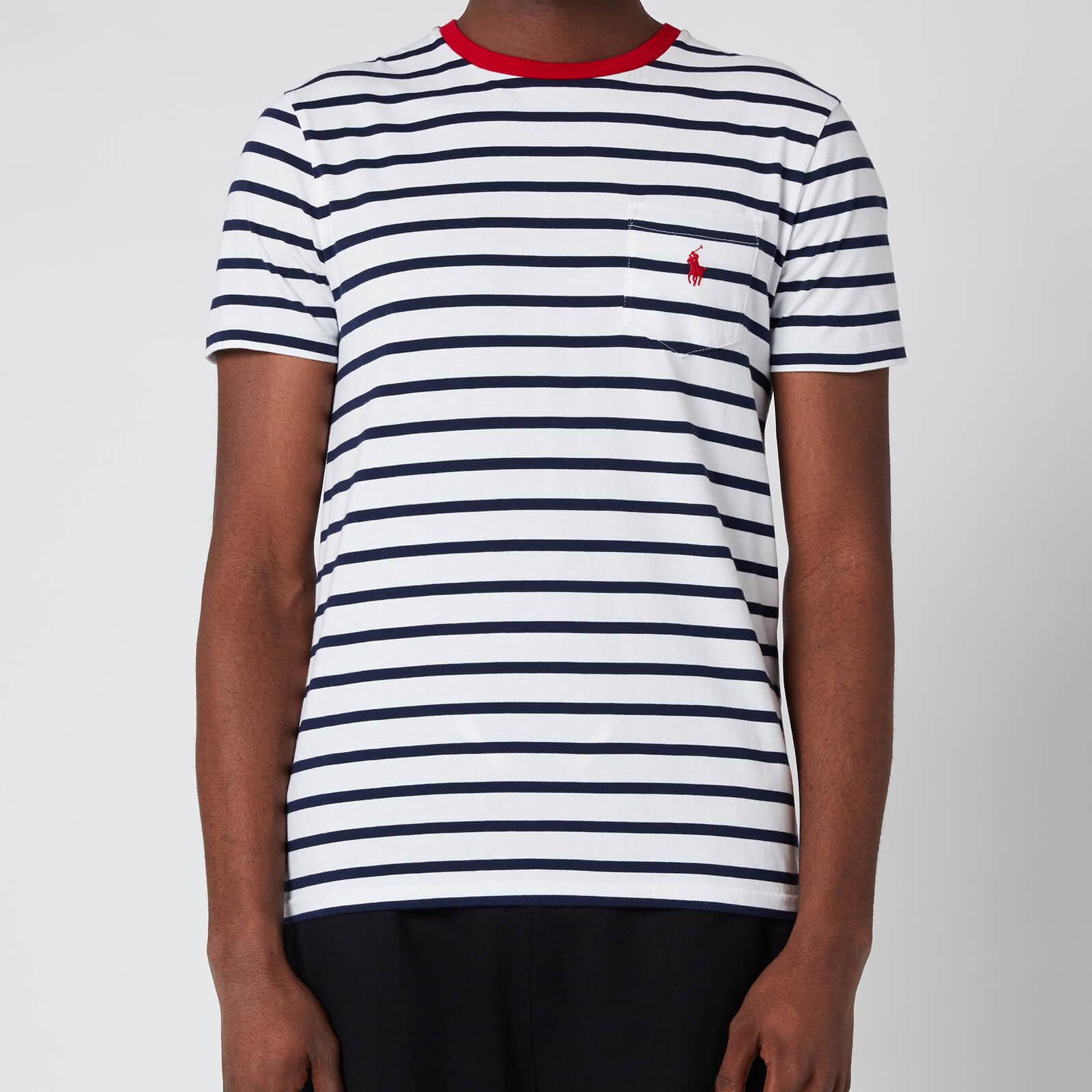 Polo Ralph Lauren Men's Striped Crewneck T-Shirt - White/French Navy - S