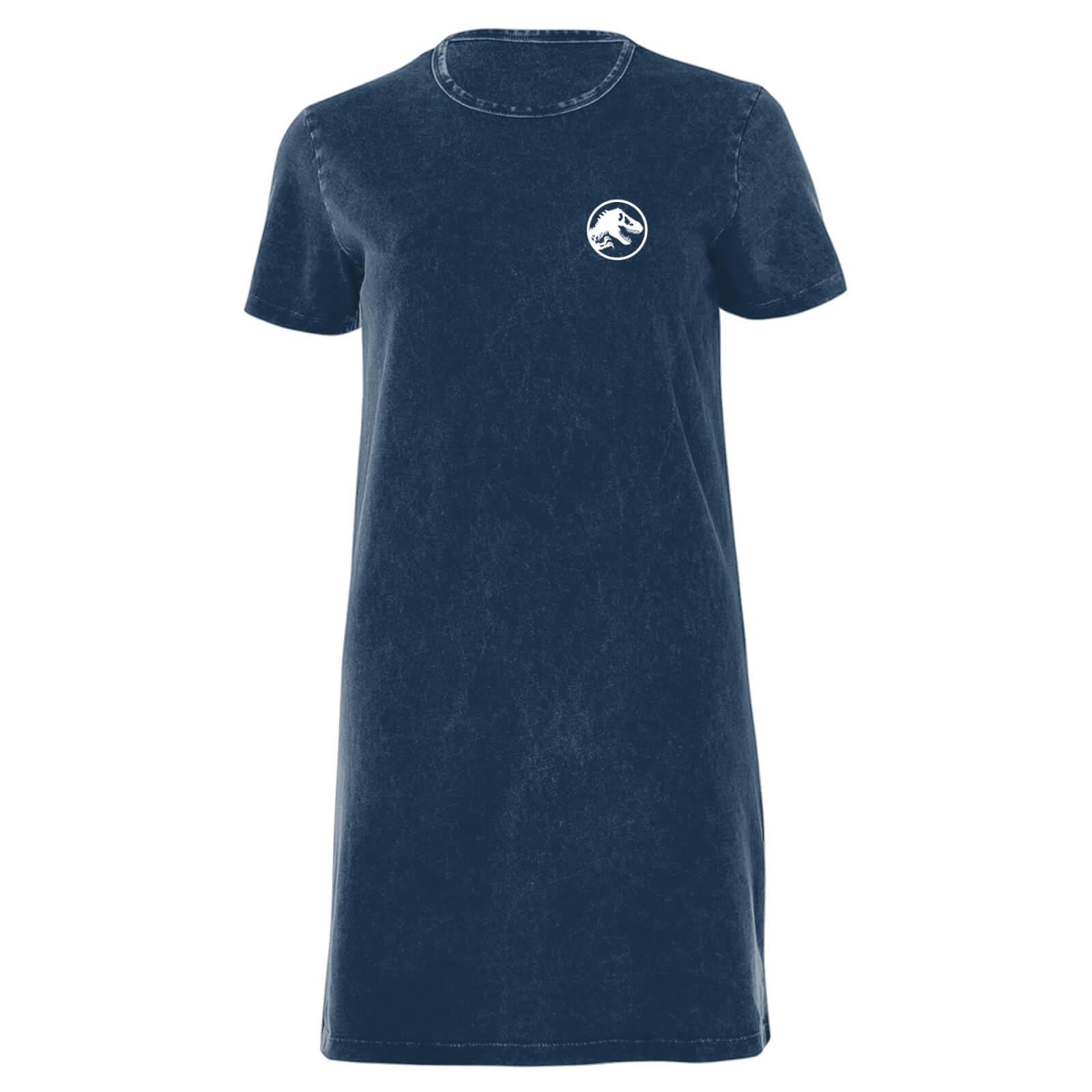 Jurassic Park White Women's T-Shirt Dress - Navy Acid Wash - S - Navy Acid Wash