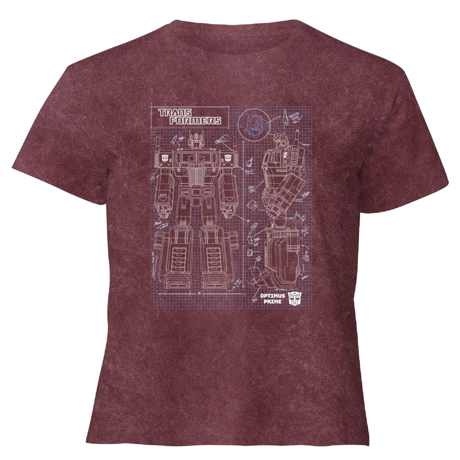 Transformers Optimus Prime Schematic   Womens Cropped T Shirt   Burgundy Acid Wash   XS   Burgundy Acid Wash