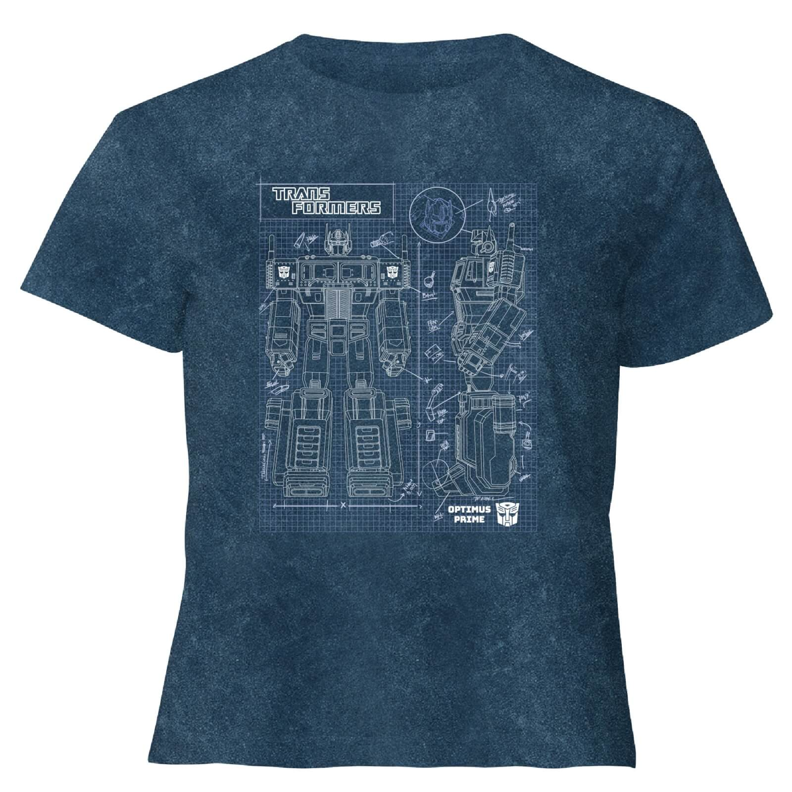 Transformers Optimus Prime Schematic   Womens Cropped T Shirt   Navy Acid Wash   XXL   Navy Acid Wash