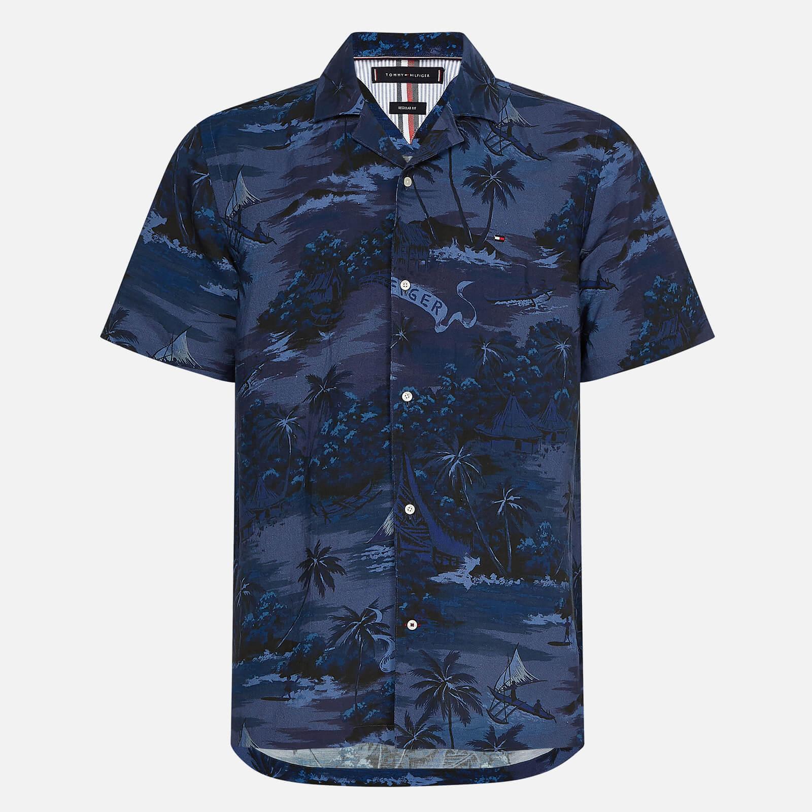 Tommy Hilfiger Men's Hawaiian Print Short Sleeve Shirt - Tonal Blues - S