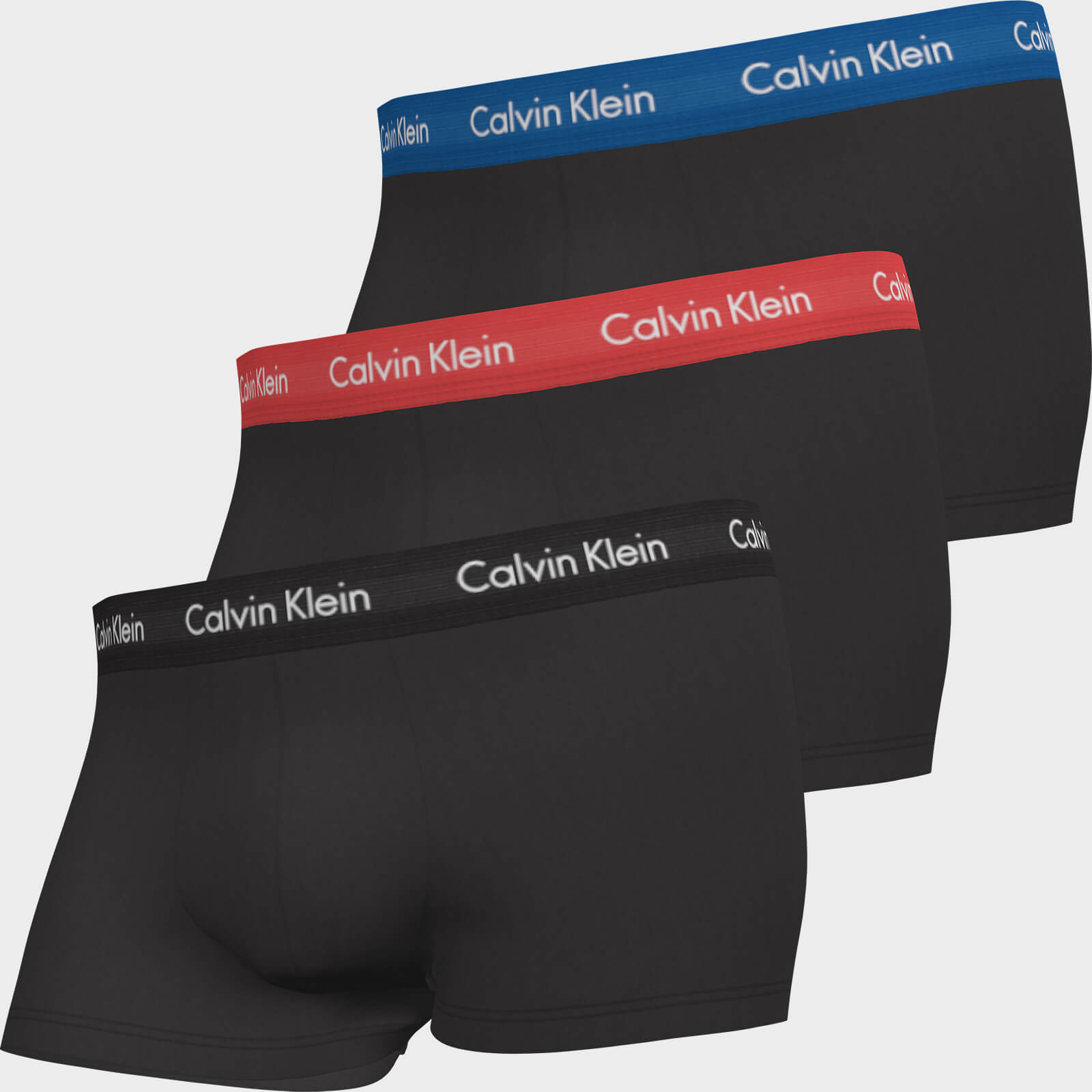 Calvin Klein Men's Cotton Stretch Low Rise 3 Pack Trunks With Contrast Waistband - B-Blue/Strawberry Field/Black - S